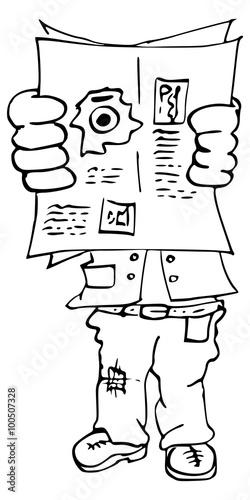 Cartoon Tekening Van Man Die Aan Het Bespieden Is Stock Photo And