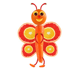Creative food concept. Funny little butterfly made of fruits and