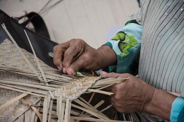 Weaving a wicker basket by handmade,Thailand