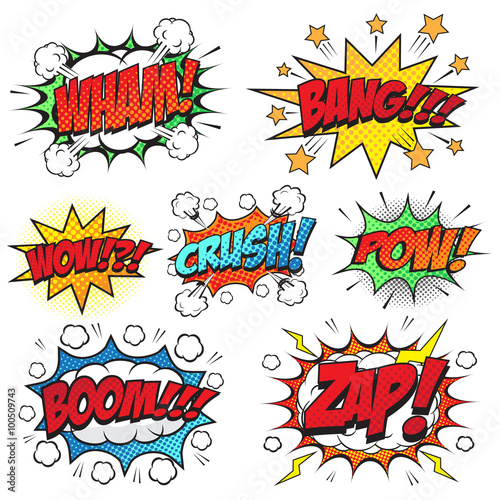 pow wording comic speech bubble in pop art style stock image and