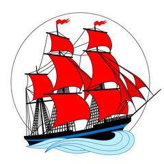 Sailing ship with red sails in a circle