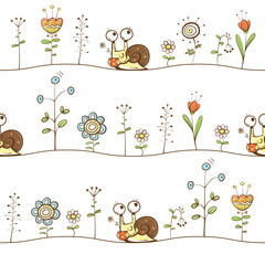 Vector spring seamless pattern with cute cartoon snails, flowers and  grass on  white background.