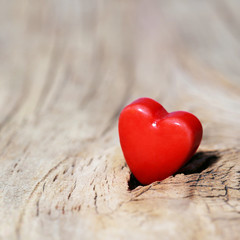 Valentines Day background. Hearts on Wooden Texture. Macro
