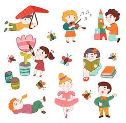Коллекция изображений детей разных профессий, творческих занятий. Детство, развитие, образование.