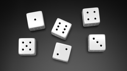 Six white dices with one to six numbers, isolated on black background