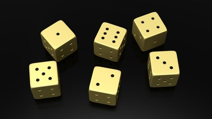 Six golden dices with one to six numbers, isolated on black background