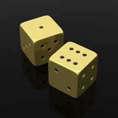 Two golden dices one and six, isolated on black background