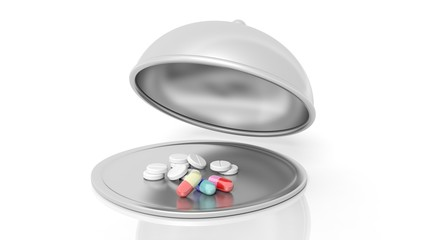 Pills inside open serving dome dish, isolated on white background.