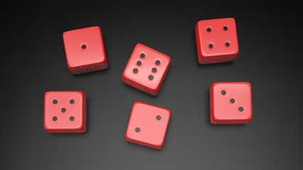 Six red dices with one to six numbers, isolated on black background