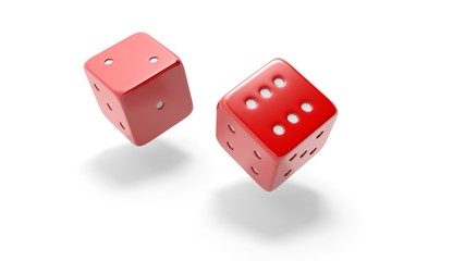 Two red dices rolling two and six, isolated on white background