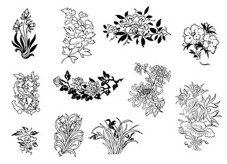 asian flower drawings