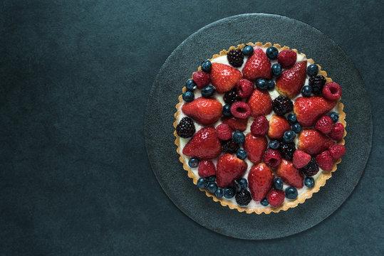 Fresh berry fruit tart, overhead view