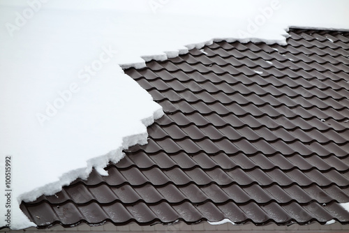 Modern Roof Covered With Tile Effect PVC Coated Metal Roof Sheets With Snow