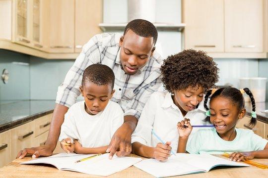 Parents checking children homework
