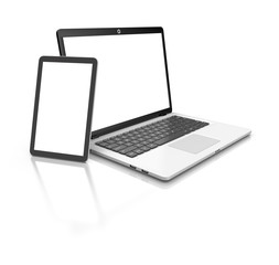 Modern Laptop and tablet isolated on white.