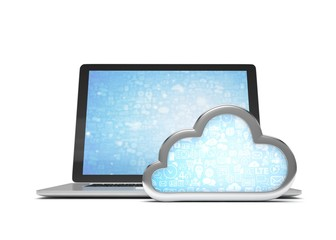 Laptop with cloud computing symbol. 3d render