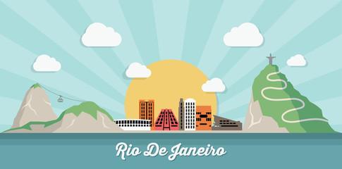 Rio De Janeiro skyline - flat design