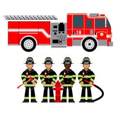 Vector illustration fire truck and fireman. Rescue.