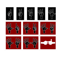 Set of hand and finger on account of one to ten. Vector illustration