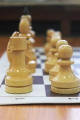Белые шахматы на шахматной доске