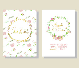 Light pink blue gold invitation card with wreath