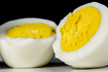 Hard-boiled egg cut in half