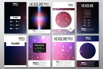 Set of business templates for brochure, flyer or booklet. Flashes against dark background
