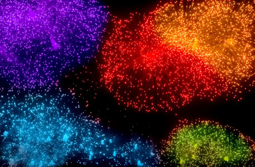 Colorful bursts of fireworks