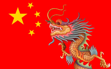dragon on china flag background