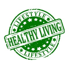 Damaged green round stamped - healthy living lifestyle - illustration