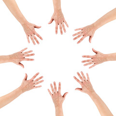 Group of eight hands at the circle together teamwork showing you