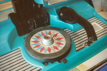 Close up of a vintage jukebox