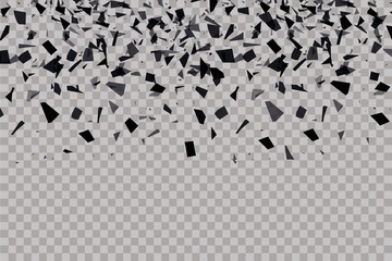 explosion cloud of black pieces. vector illustration