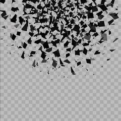explosion cloud of black pieces. vector illustration