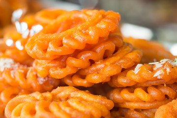 Jalebi or Jilebi ,Indian sweet, selective focus
