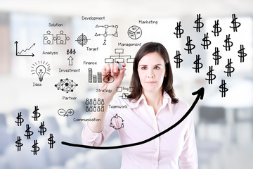 Businesswoman writing profit business process. Office background.