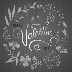 Valentine's Day Floral Card Grey Silver