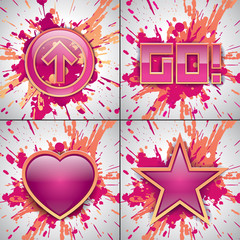 Vector explosion set, arrow, star, go!, love. Paint pink and blue. Art Design