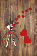 Celebrate valentine's day, spoon, fork and hearts shape
