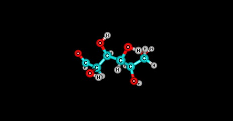 Glucose molecular structure isolated on black