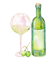 Image of the isolated watercolor white wine bottle, green grapes and glass of the white wine. Painted hand-drawn in a watercolor on a white background.