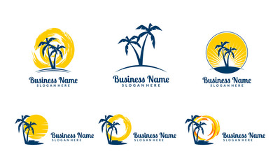 sun, palm, landscape, travel, tour, vector logo design 6