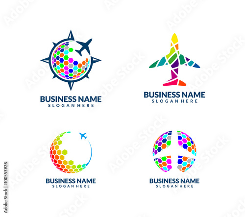 quotmodern and colorful travel and tour agency vector logo