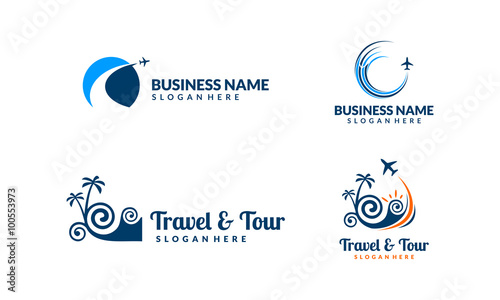 travel and tour landscape vector logo design stock image and