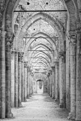 Pillars and arches of the cathedral in ruins (B & W)