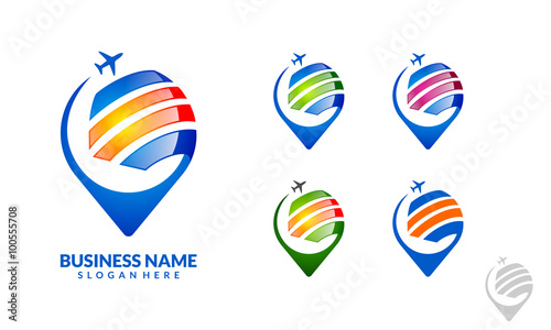 navigation point travel and tour pin icon vector logo design