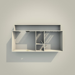 3d interior rendering of rectangular paper model apartment
