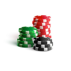 casino chips isolated on white realistic theme