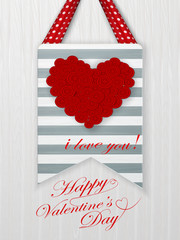 Valentines day card with hearts and words of love