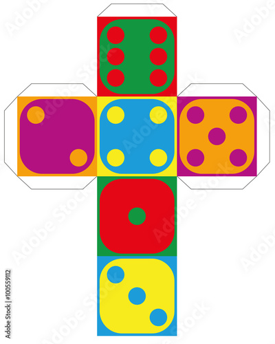 Dice template - model of a colorful cube to make a three-dimensional ...